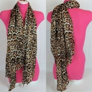 "NWT! SILK SCARF LEOPARD 56x25"" JET SET COLLECTION"